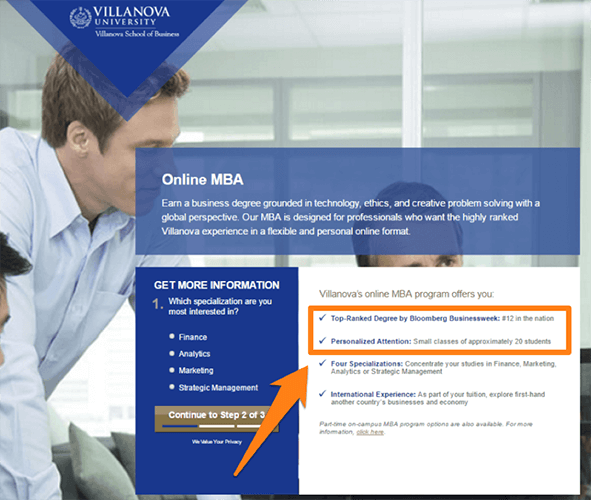 Address persona specific objections - online MBA program
