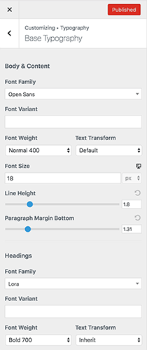 Astra pro version customize fonts and typography settings