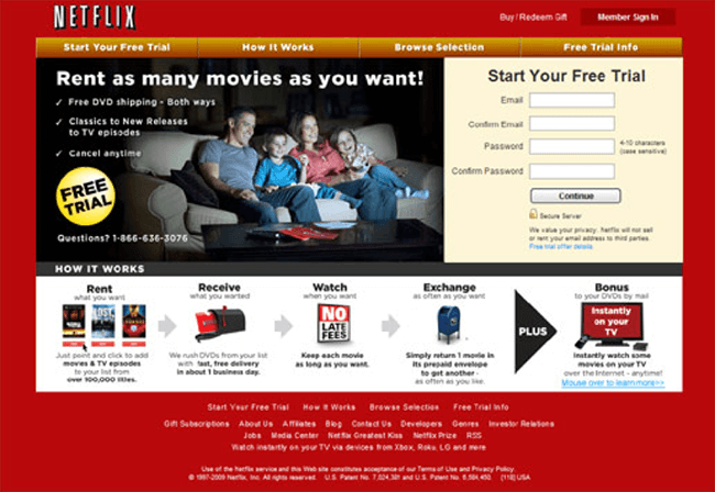 Change positioning to fit persona - Netflix old landing page