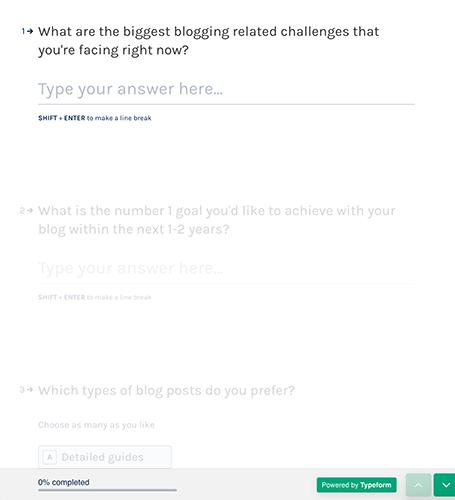 Quick survey using Typeform