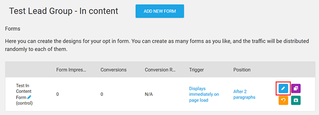 edit opt-in form