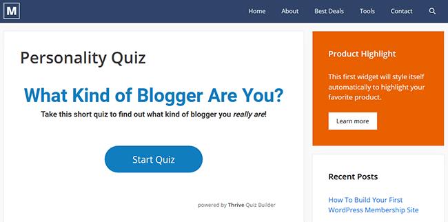 example personality quiz