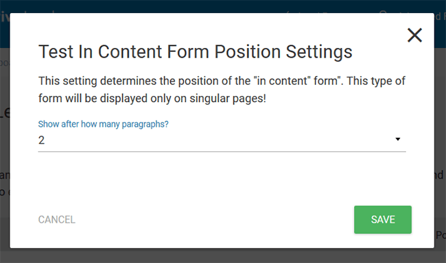 form position settings