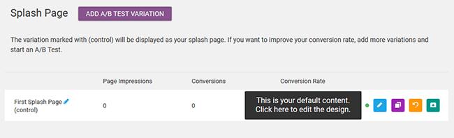 manage splash page