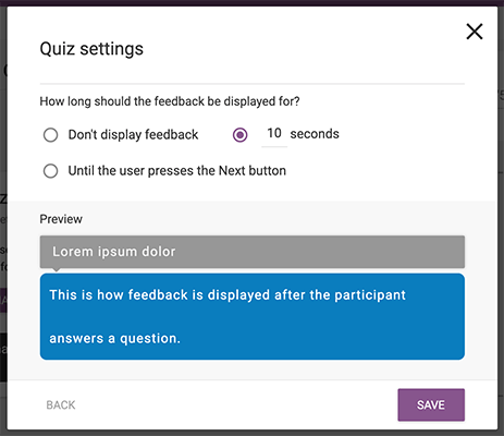 01 Quiz settings after percentage type chosen