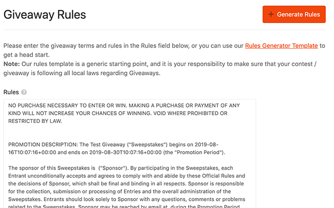 11. Giveaway rules example