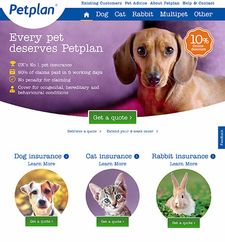 Petplan Click-Through Landing Page