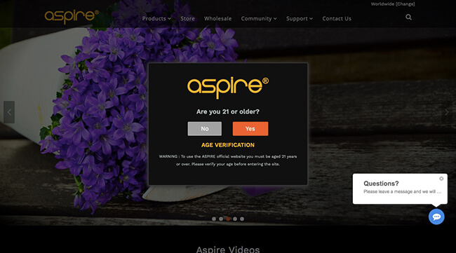 Aspire Age Verification Splash Page