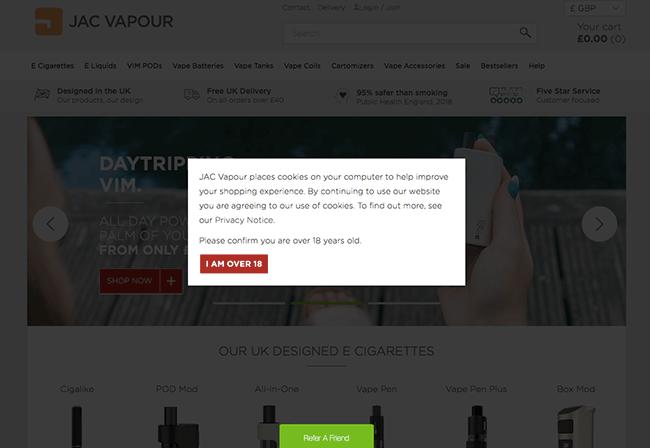 Jac Vapour Age Verification & Cookie Consent Page