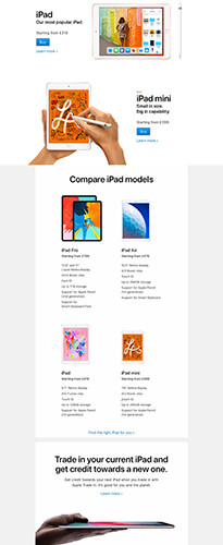 Apple iPad Product Landing Page