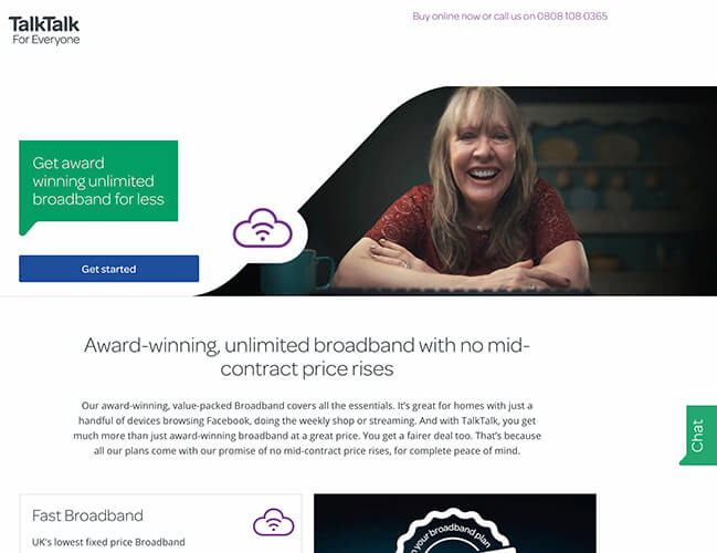 TalkTalk Service Comparison Landing Page