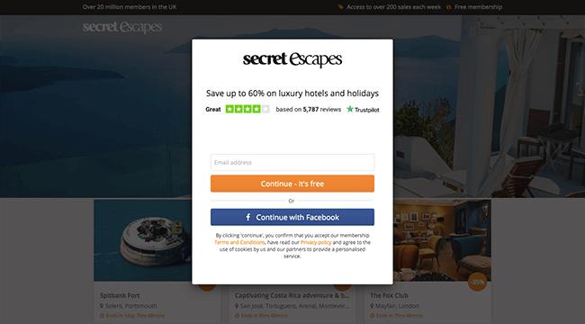 Secret Escapes Email Capture Page