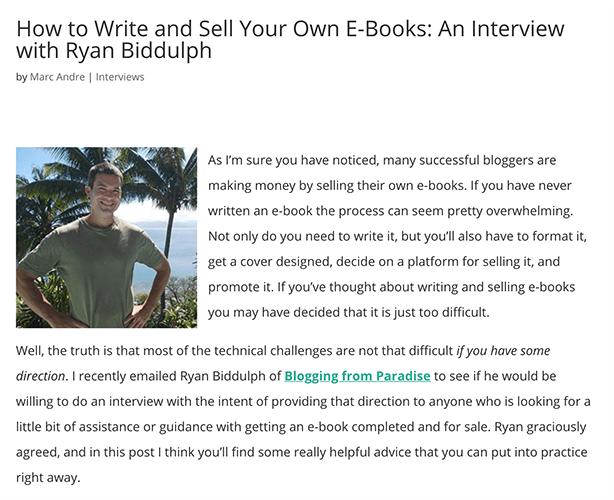 Interviews - Ryan Biddulph Interview
