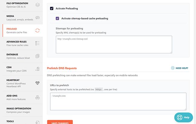 Sitemap based preloading