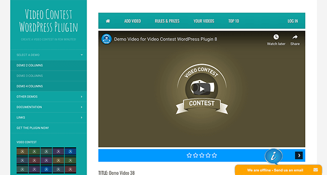 video contest plugin