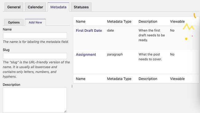 2 Default metadata types
