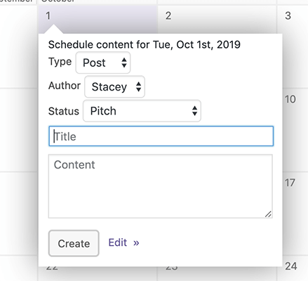 4 Create new content directly from calendar