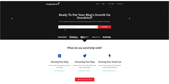 Blogging Wizard layout on the homepage