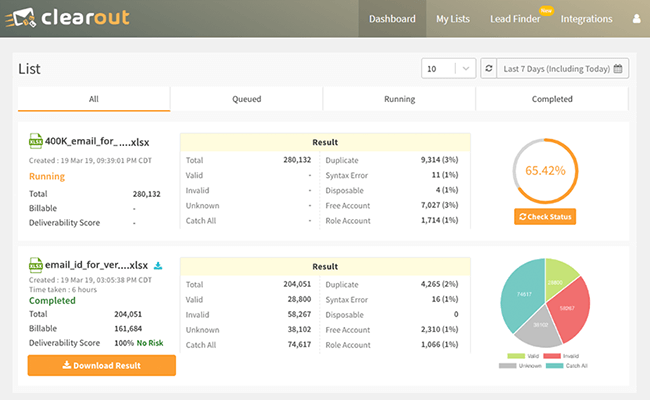 Clearout Dashboard