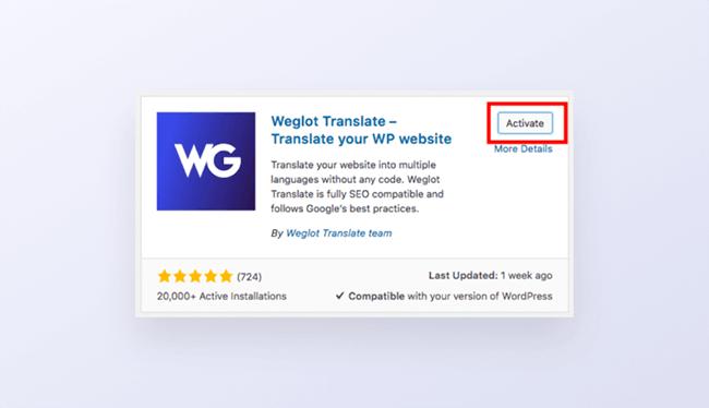 Step 1 activate Weglot Translate