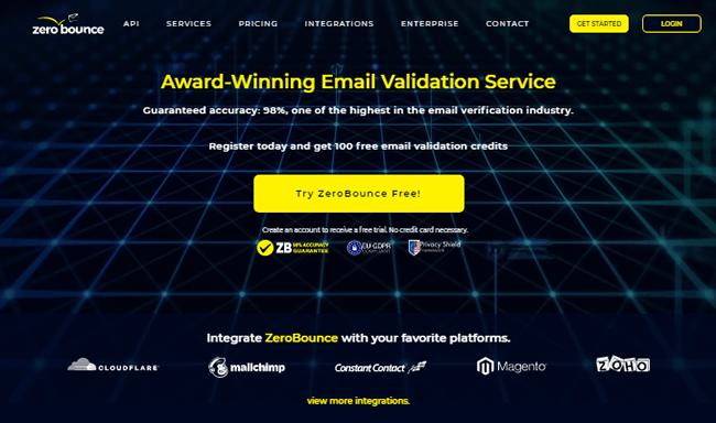 Zero Bounce Homepage