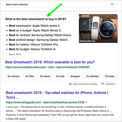 featured snippets list