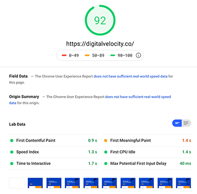 05 Google pagespeed score