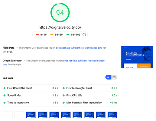 07 Google pagespeed score