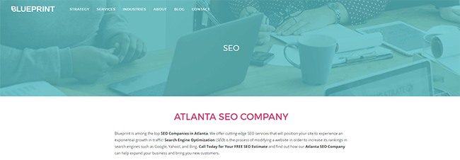 Blueprint dedicated SEO services page