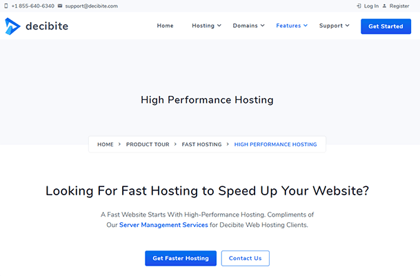 Decibite page on high performance hosting