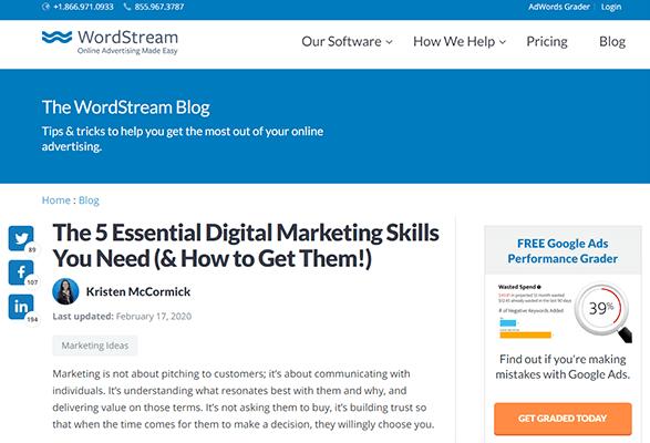Articolo di Wordstream sulle competenze di marketing digitale