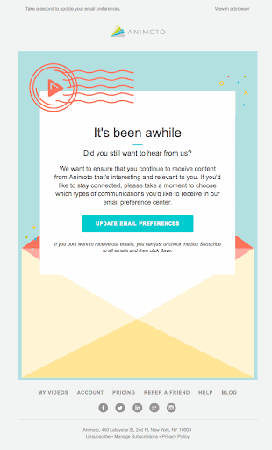 Animoto Re-Engagement Email