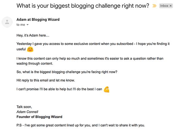 Blogging Wizard Lead Nurturing Email