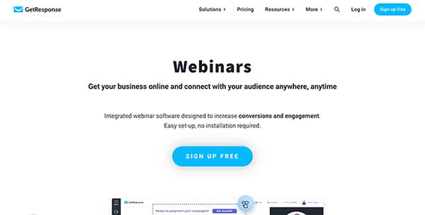 Homepage di GetResponse