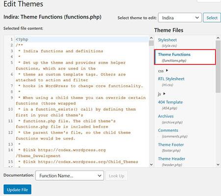 theme functions in wordpress