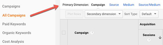 7.2 Google Analytics primary dimension