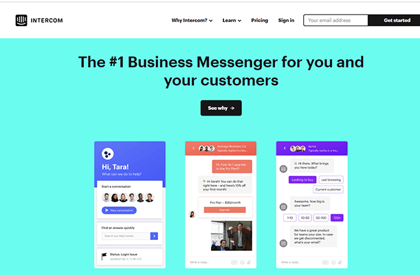 Intercom live chat tool