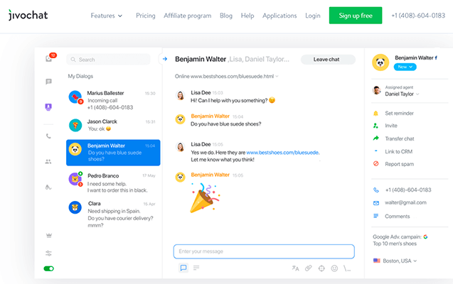 JivoChat live chat tool