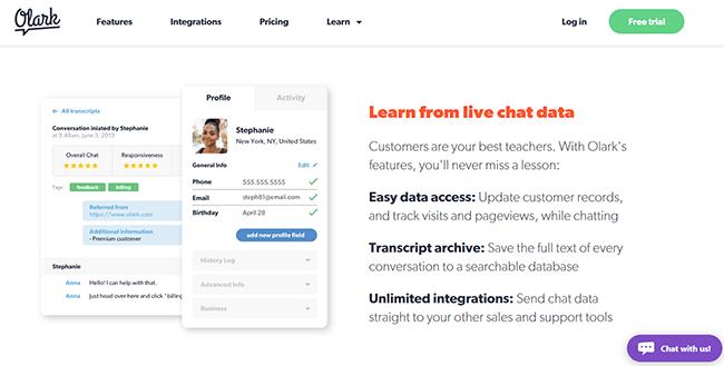 Olark live chat tool