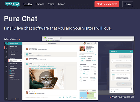 Pure Chat live chat tool