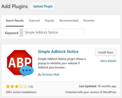 install and activate simple adbock notice