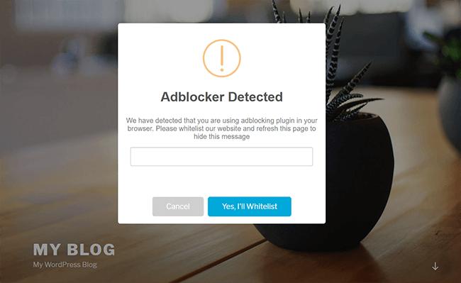 simple adblock notice example