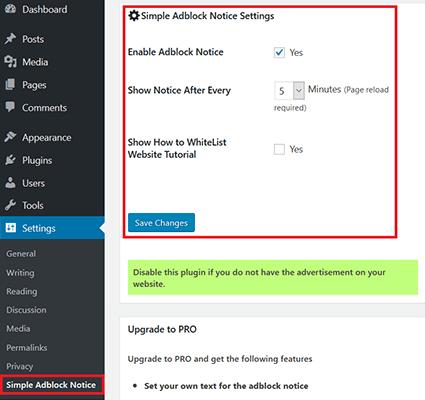 simple adblock notice settings