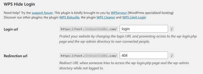 wps hide login settings