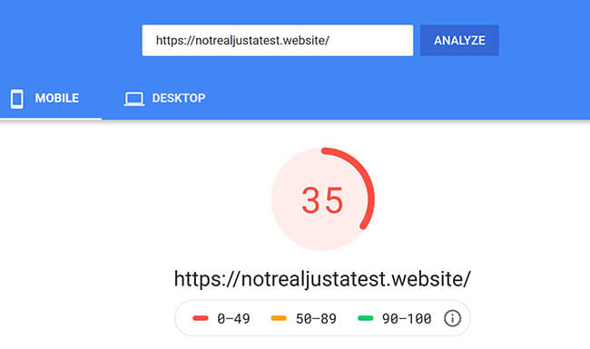 No optimized Pagespeed Insights Mobile
