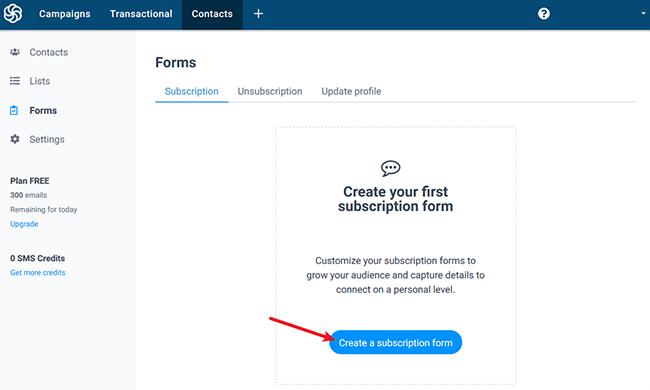 create a subscription form