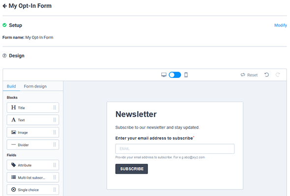 customize opt-in form