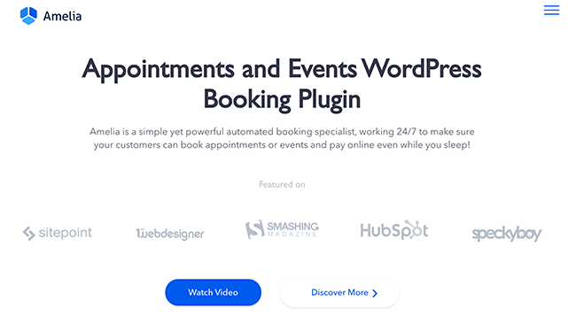 Amelia Booking Plugin Homepage