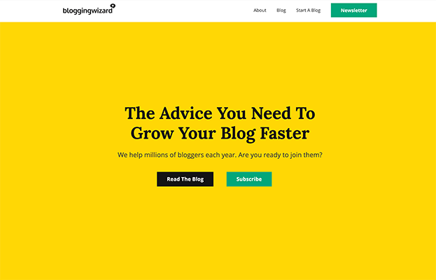 October Redesign - Blogging Wizard Old Homepage Yellow
