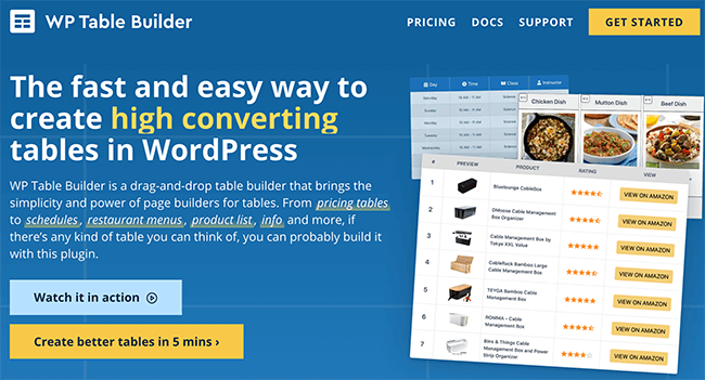 WP Table Builder Pro Homepage